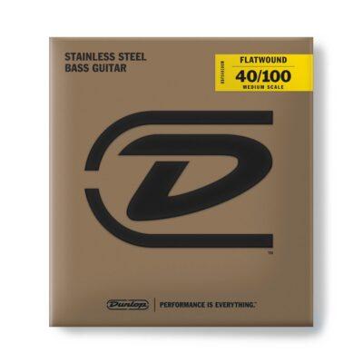 Dunlop DBFS40100M Corde basso Flatwound Light Scala media Set/4