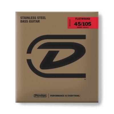 Dunlop DBFS45105S Corde basso Flatwound Scala corta Set/4