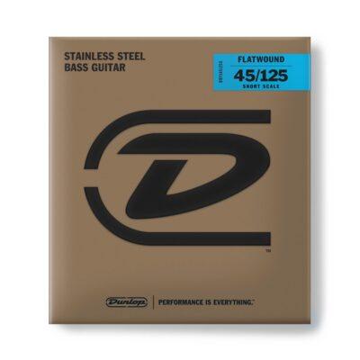 Dunlop DBFS45125S Corde basso Flatwound Scala corta Set/5