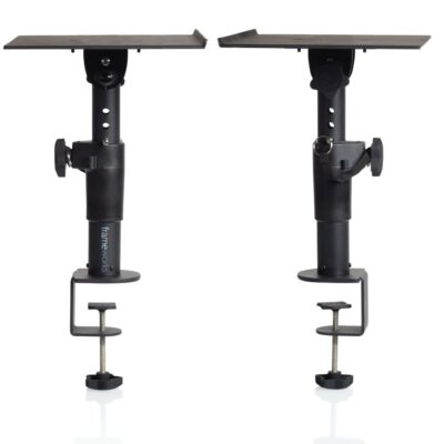 Gator GFWSPKSTMNDSKCMP - coppia di stand a clamp da tavolo per studio monitor