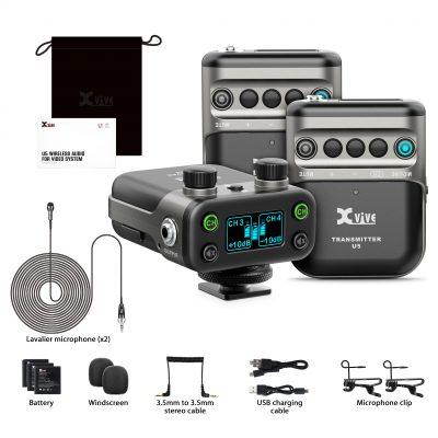 Xvive U5T2 LAVALIER - Sistema wireless digitale con doppio trasmettitore per camera DSLR o Broadcast
