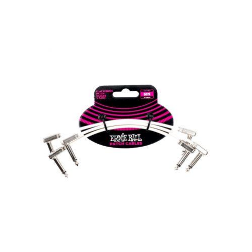 Ernie Ball 6385 Flat Ribbon Patch Cable White 15.24cm 3Pk