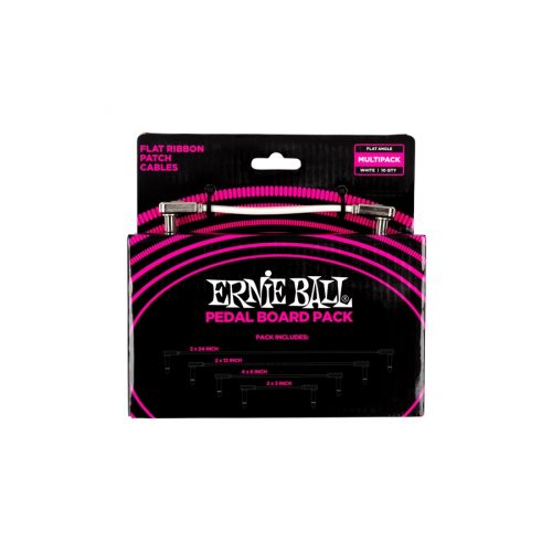 Ernie Ball 6387 Flat Ribbon Patch Cables White Multi-pack